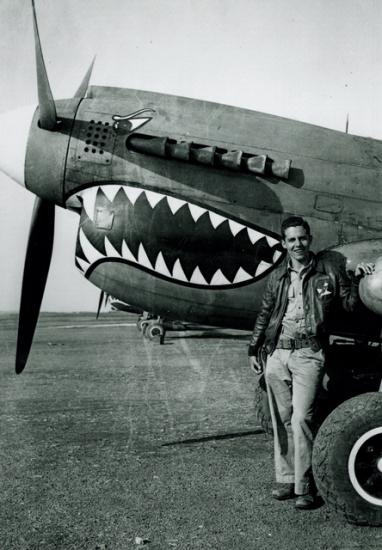 Don Lopez with a Curtiss P-40 in China