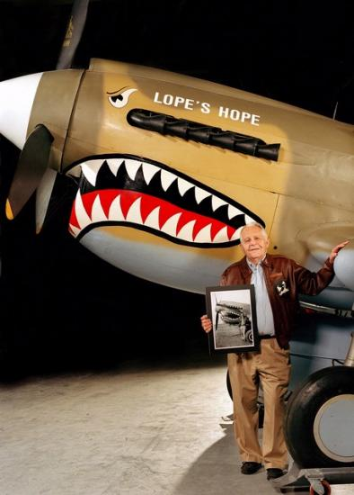 Donald Lopez with Curtiss P-40 at the Udvar-Hazy Center