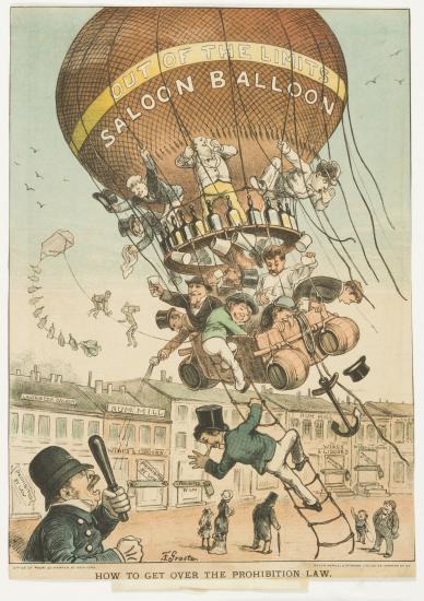 Men use a balloon to evade the police.