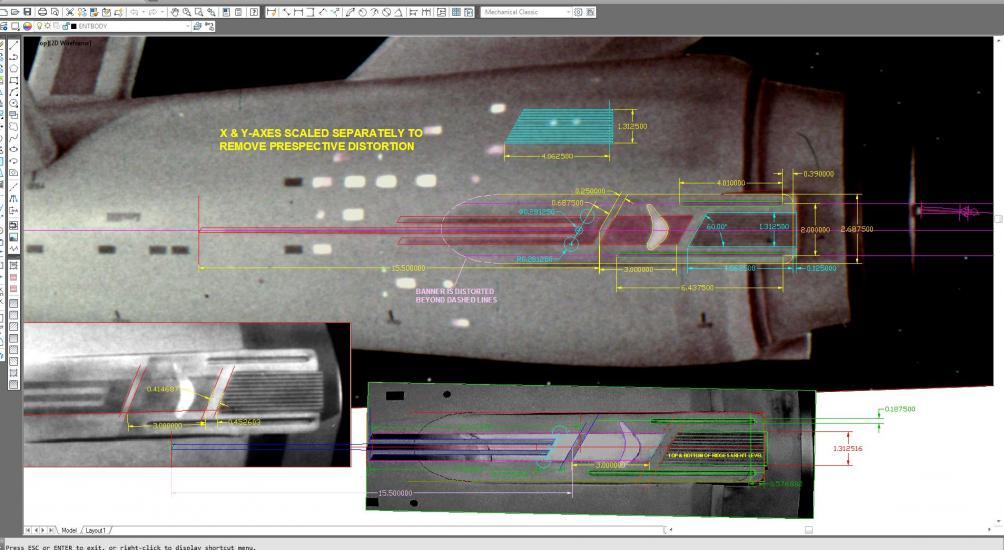 AutoCAD measurements laid over original photographs.