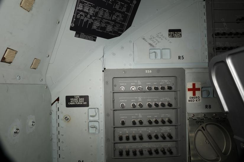 Writing inside the Apollo 11 Command Module