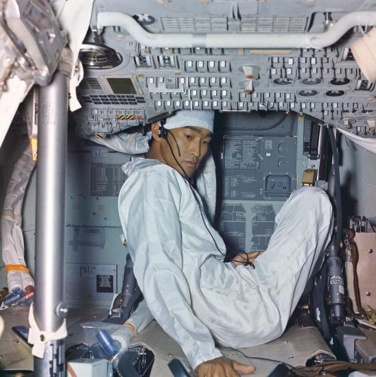 John Hirasaki inside the Apollo 11 Command Module