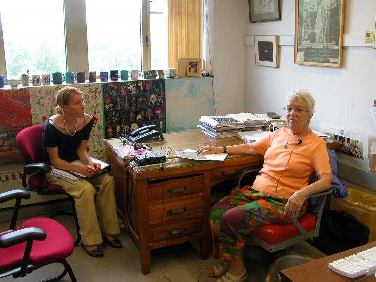 Vera Rubin is seated in her office with intern Ashley Yeager
