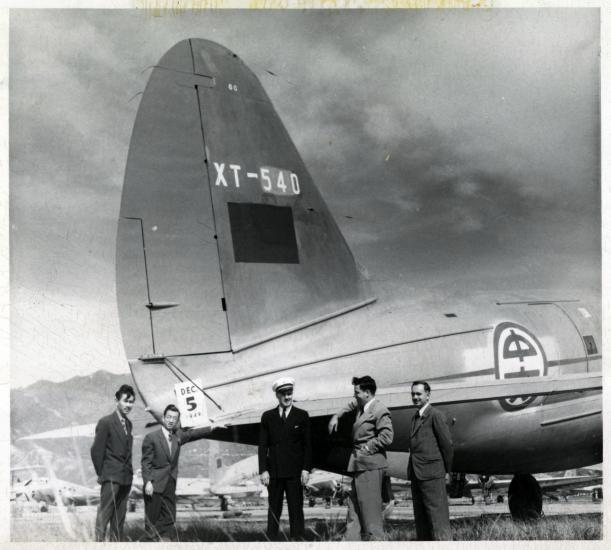 Thomas Lanphier in front of Chinese C-46