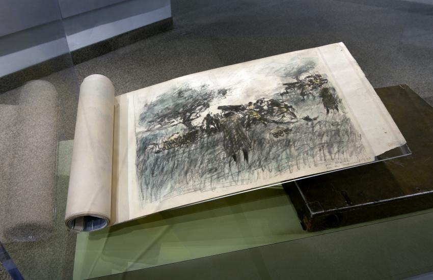 Close-up of a sketch book.