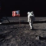 Apollo 11: Buzz Aldrin and the U.S. flag on the Moon