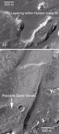 Close up of water-formed features on the surface of Mars