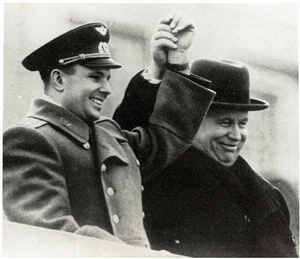Gagarin and Nikita Khrushchev celebrate at Red Square.