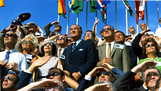 Spiro Agnew and Lyndon Johnson Watch the Apollo 11 Liftoff