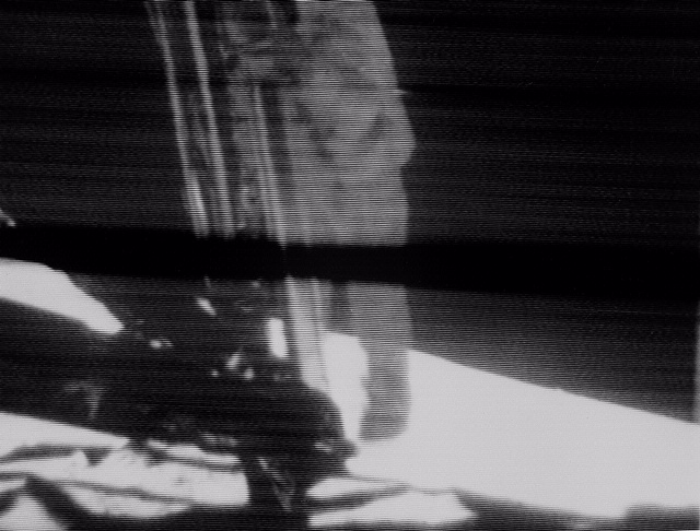 Telecast of Astronaut Neil Armstrong Descending Ladder to Lunar Surface