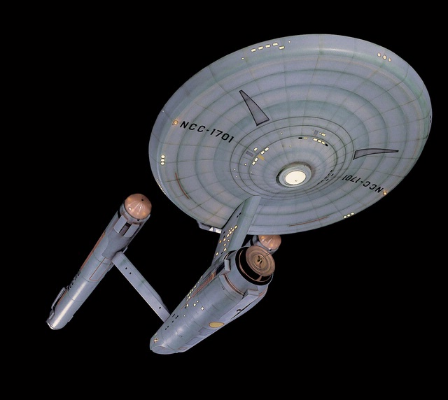 Original model of starship Enterprise used in the filming of the Star Trek TV show (1966-69).  Now on display in the Museum Store at the National Air and Space Museum in Washington, DC.
