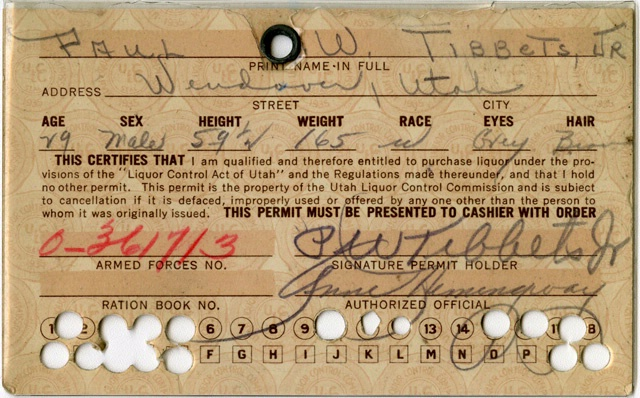 Tibbets' Utah Liquor Ration Card