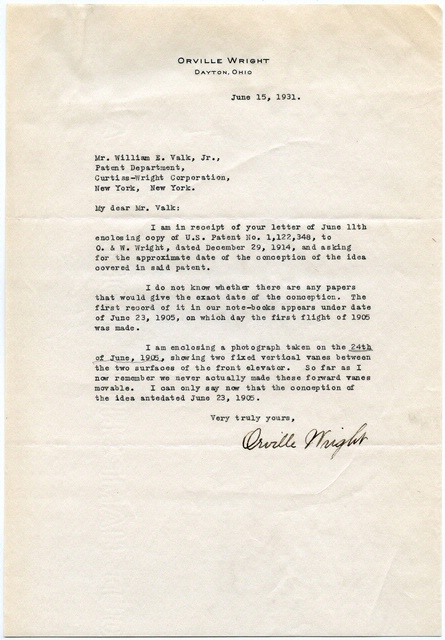 Letter from Orville Wright to the Curtiss-Wright Corporation