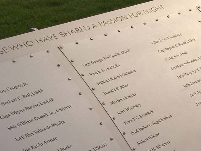 Close Up View of Names on the Wall of Honor