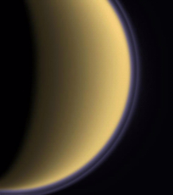 Colorized View of Titan from Cassini