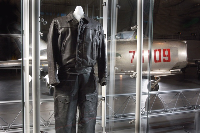 Flight suit worn by Lt. Franciszek Jarecki when he defected from the Polish Air Force in a MiG-15s. Flight suit is on display at the National Air and Space Museums Steven F. Udvar-Hazy Center.
