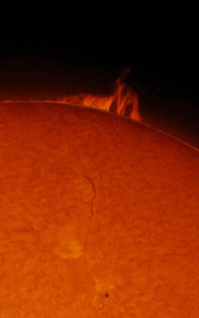 A large prominence on the Sun, taken on September 15, 2010