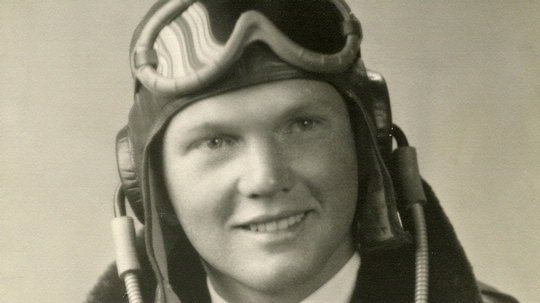 John Glenn dressed in flight gear, circa 1943