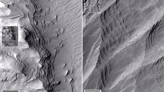 Uniformly bedded materials visible within western Medusae Fossae Formation
