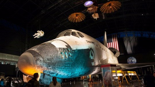 Space Shuttle Discovery Takes on an Eerie Air