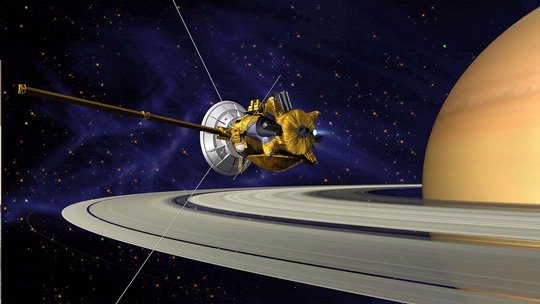Artists's Conception of Cassini Saturn Orbit Insertion