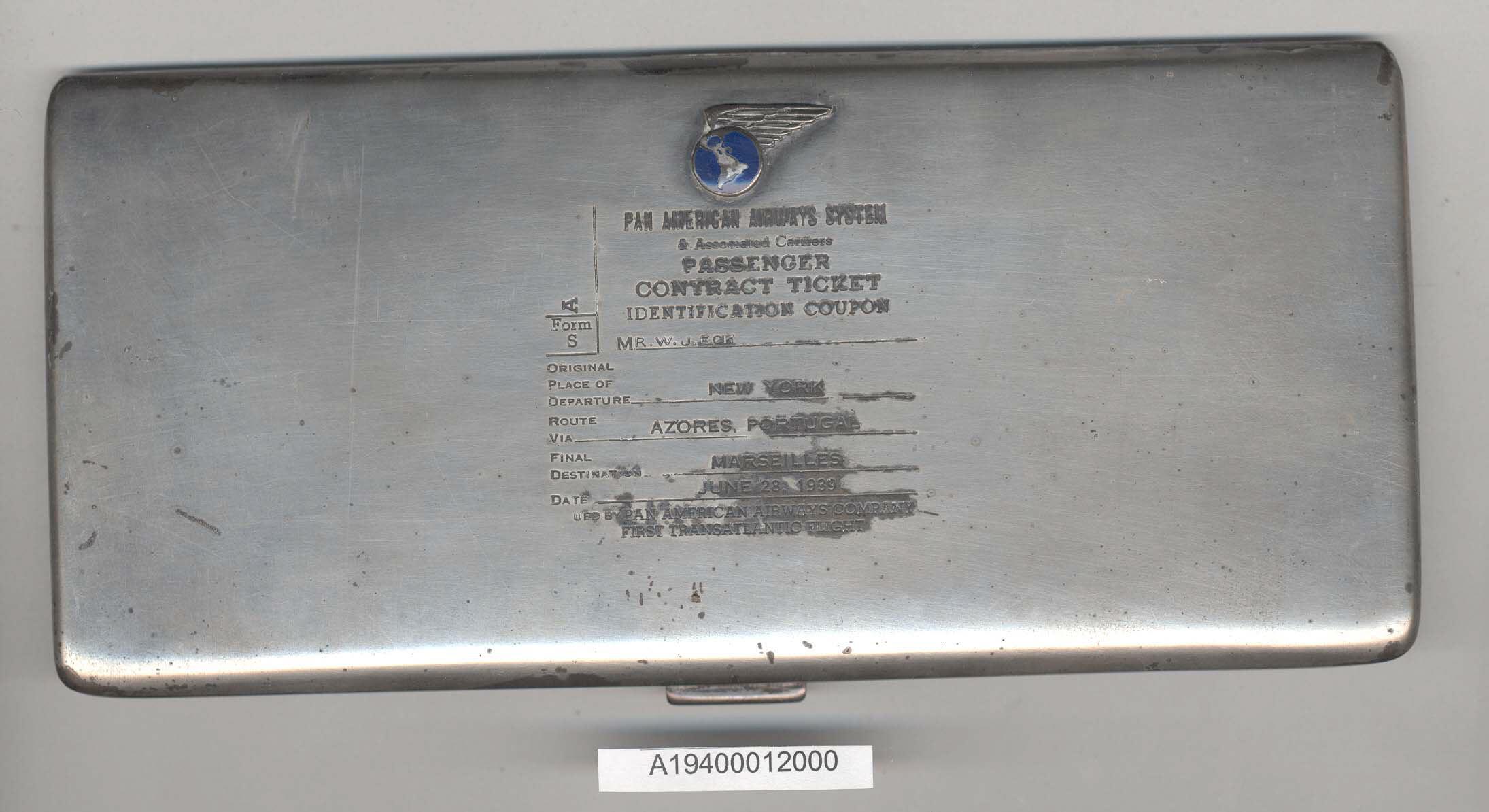 Image of : Ticket Holder, Pan American Airways, William J. Eck