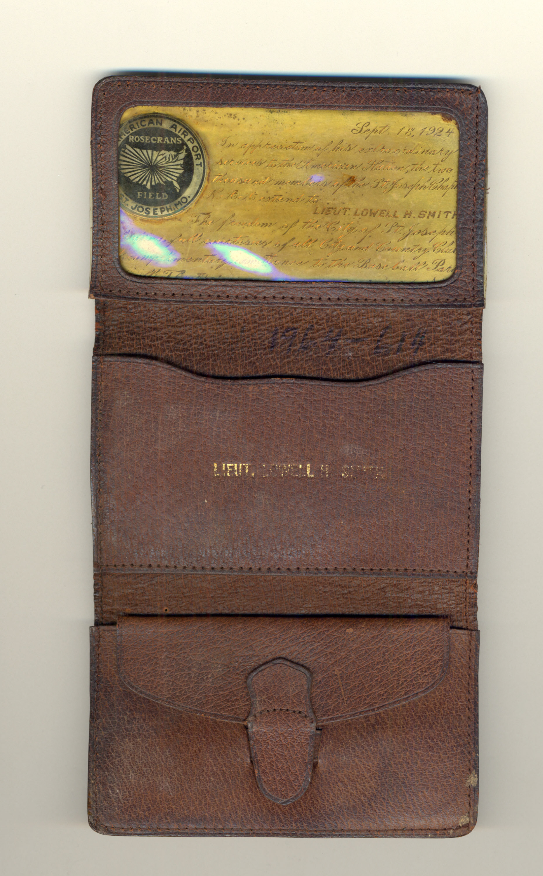 Image of : Wallet and Pass to St. Joseph, Missouri, Lt. Lowell Smith