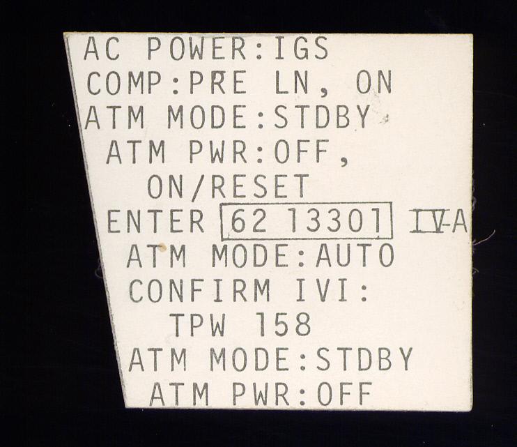 Image of : Checklist Card, ATM, Gemini 10