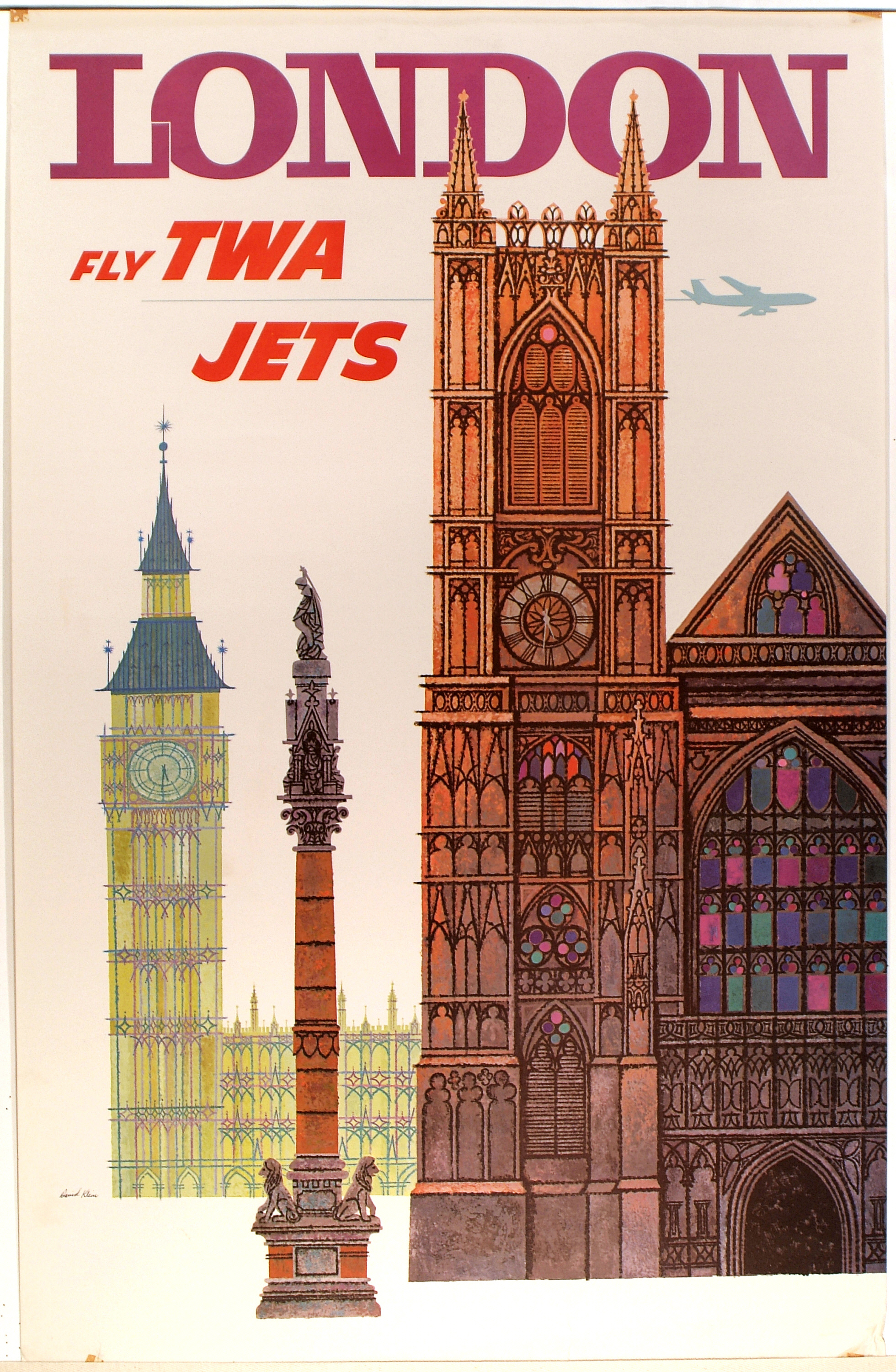 A poster that reads London with landmarks on it.