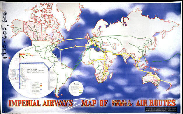 Imperial Airways Map of Empire and European Air Routes | National ...