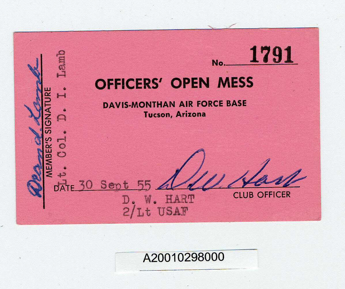 Image of : Card, Membership, Officer's Open Mess