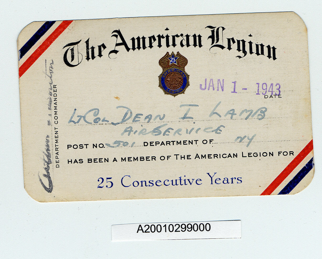 Image of : Card, Membership, American Legion