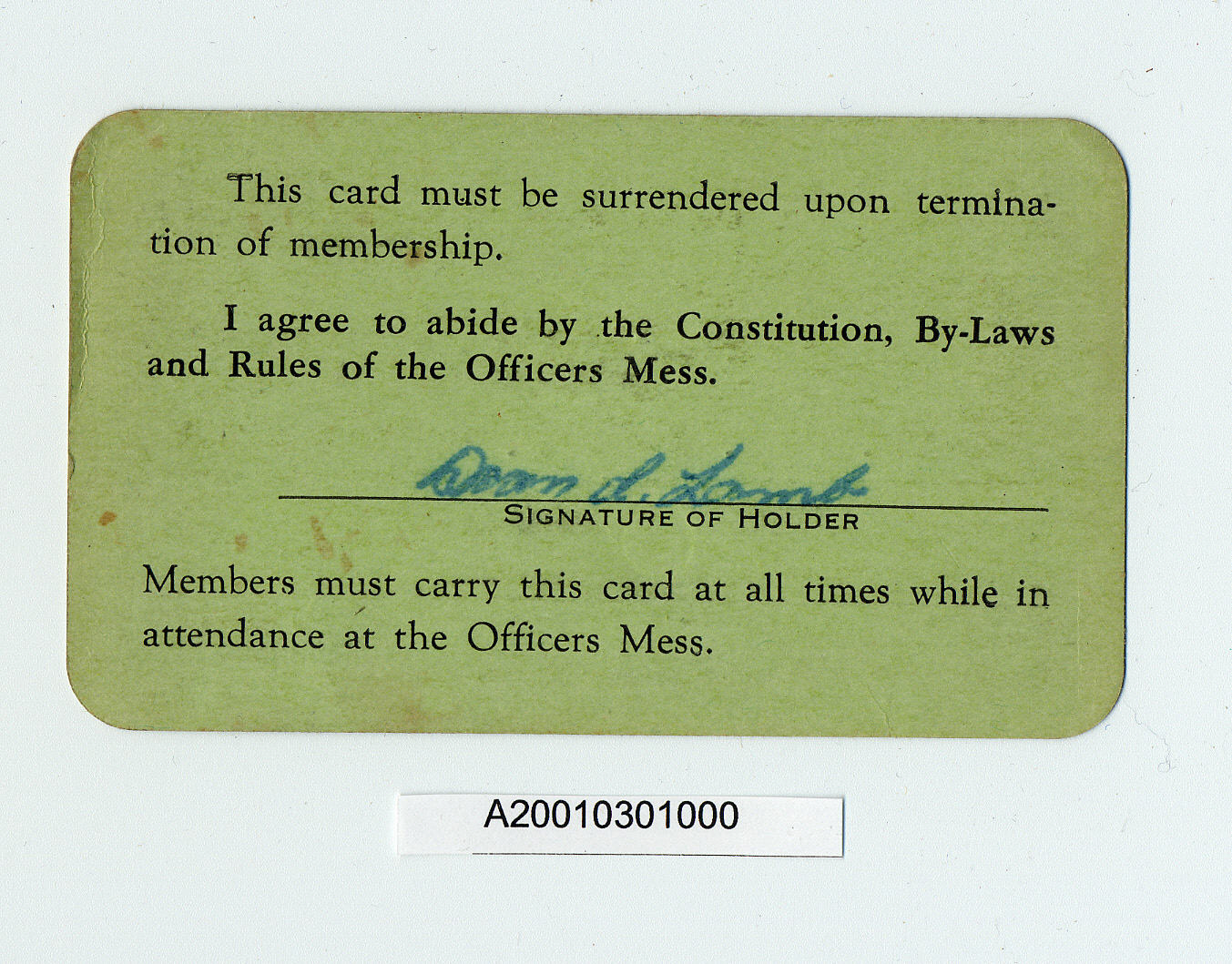 Image of : Card, Membership, Mitchel Air Force Base Officer's Mess