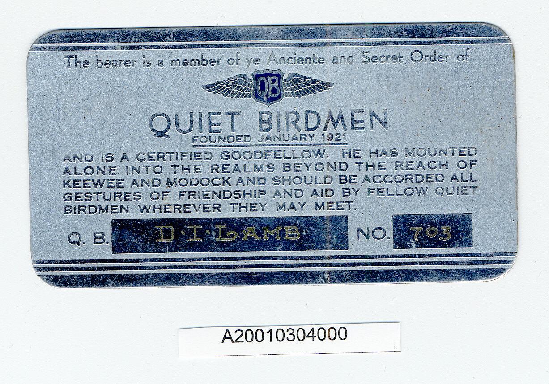 Image of : Card, Membership, Quiet Birdmen