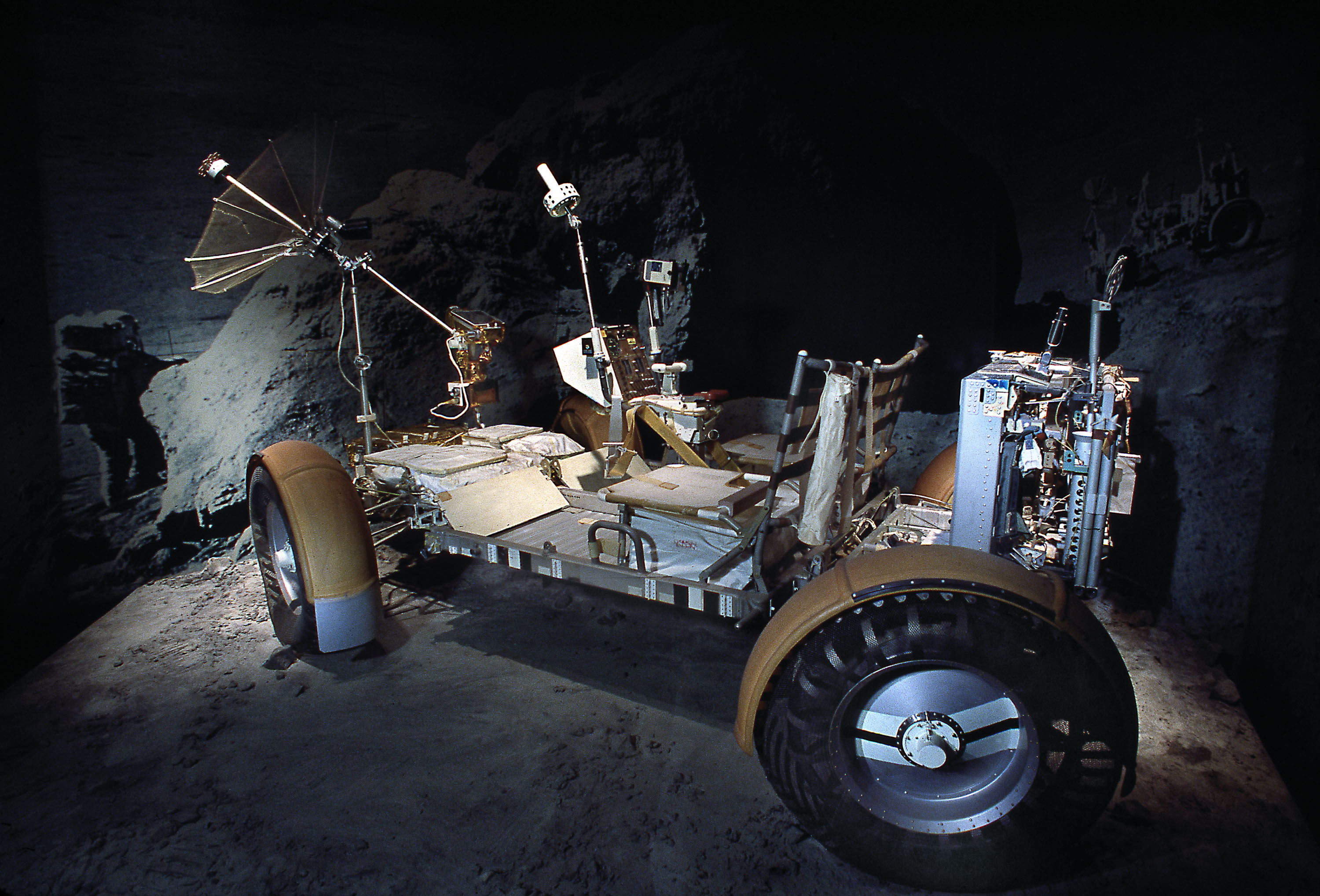 Image of the Lunar Roving Vehicle on display.