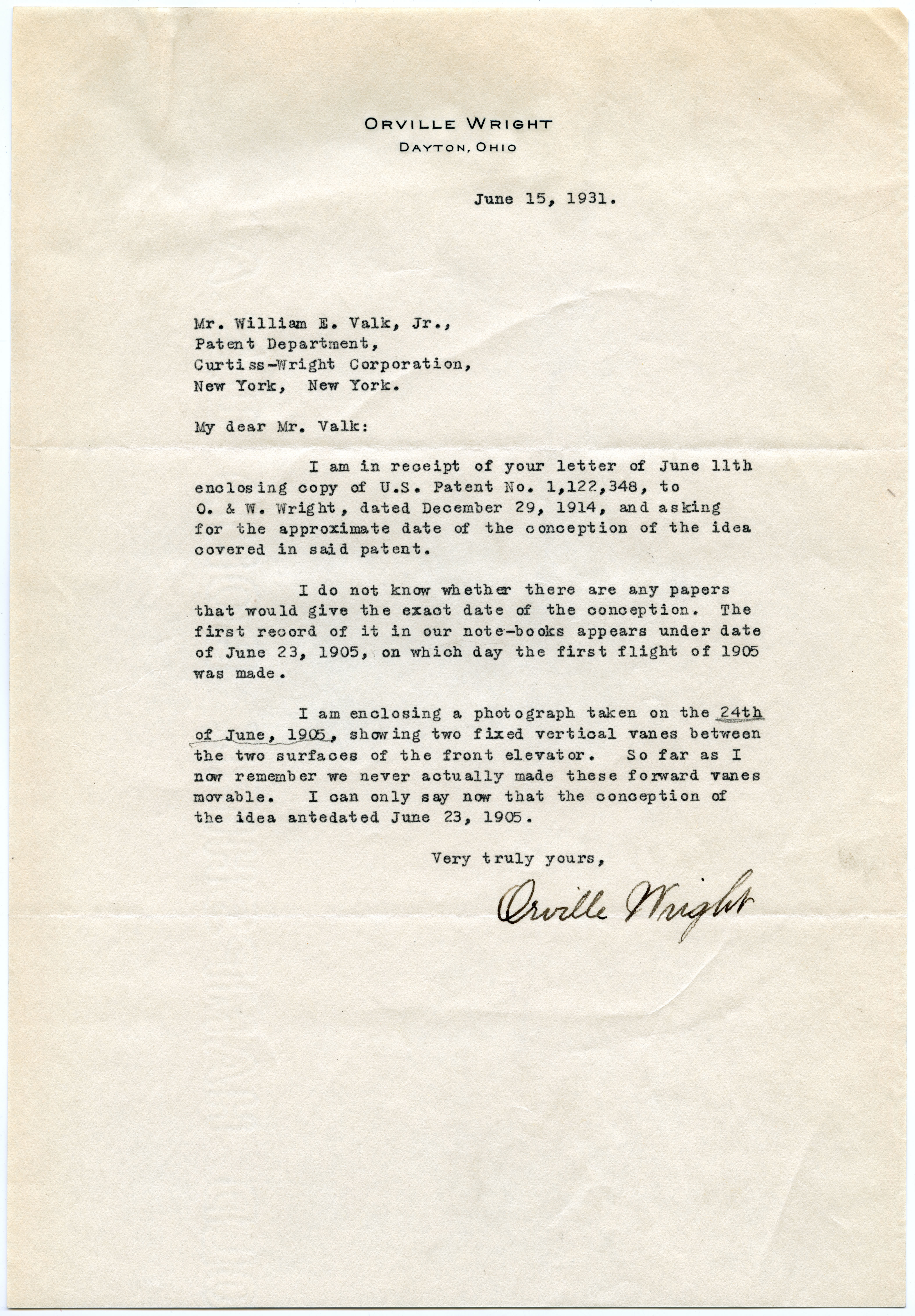 letter from orville wright to the curtiss wright