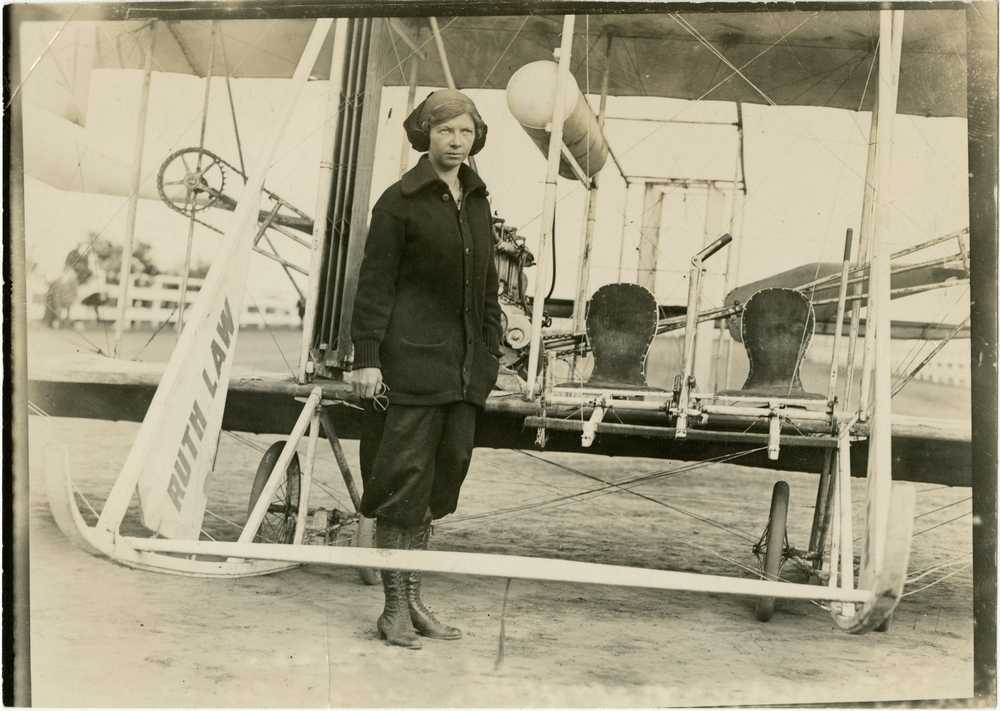 Ruth Law in front of biplane