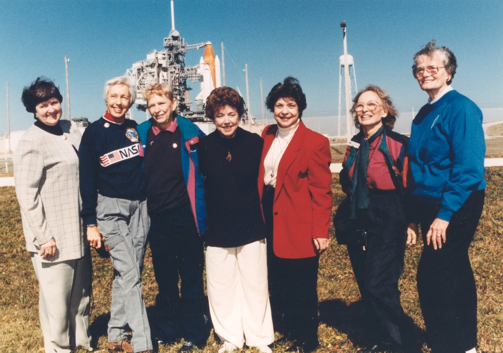 Seven members of the first lady astronaut trainees in 1995.