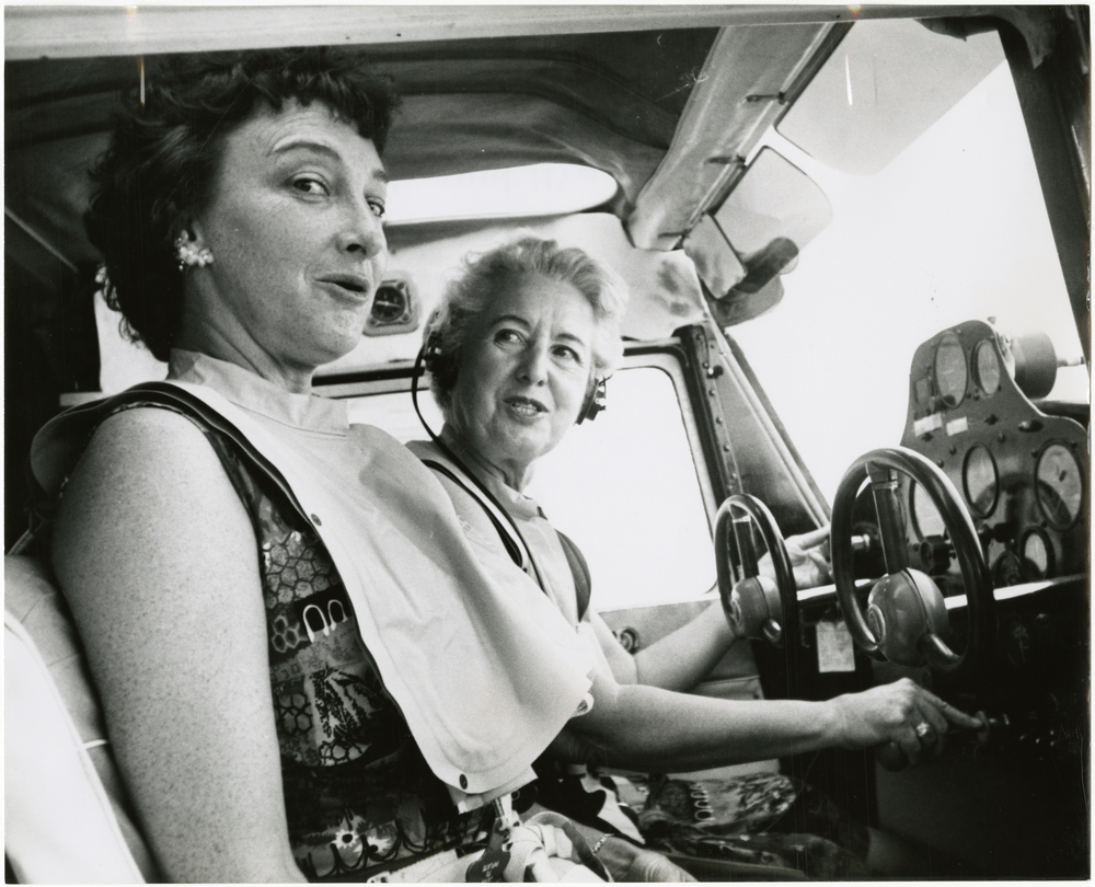 Pilots Edna Whyte and Copilot Martha Wright inside their Cessna 120
