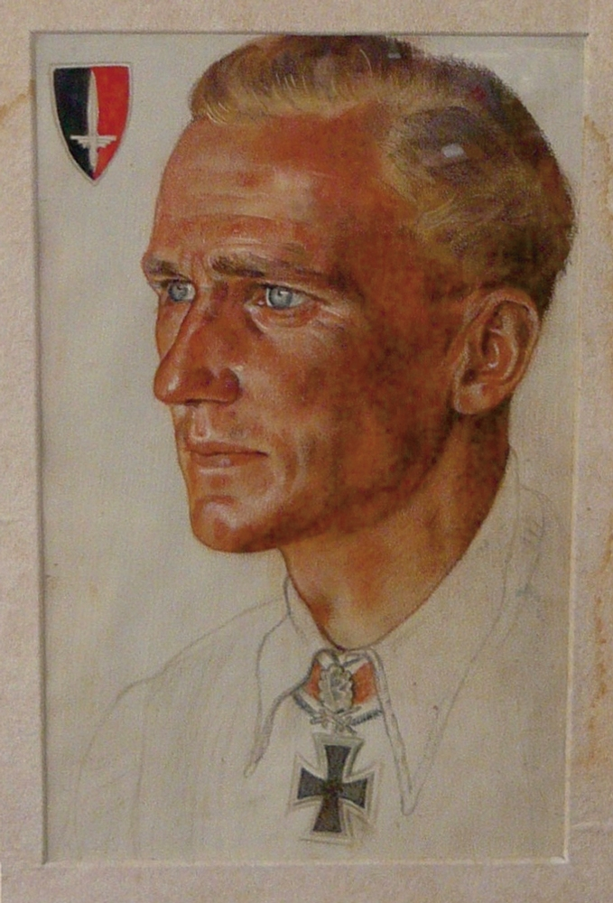 Painted portrait of Gunther Rall.