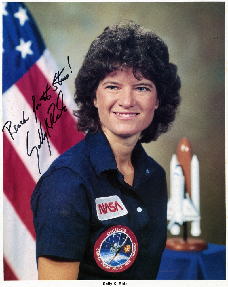color portrait of Sally Ride with signature