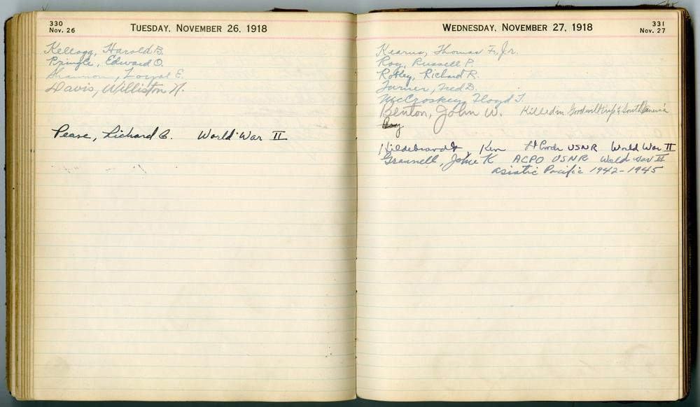November entries in Tusch's birthday book.