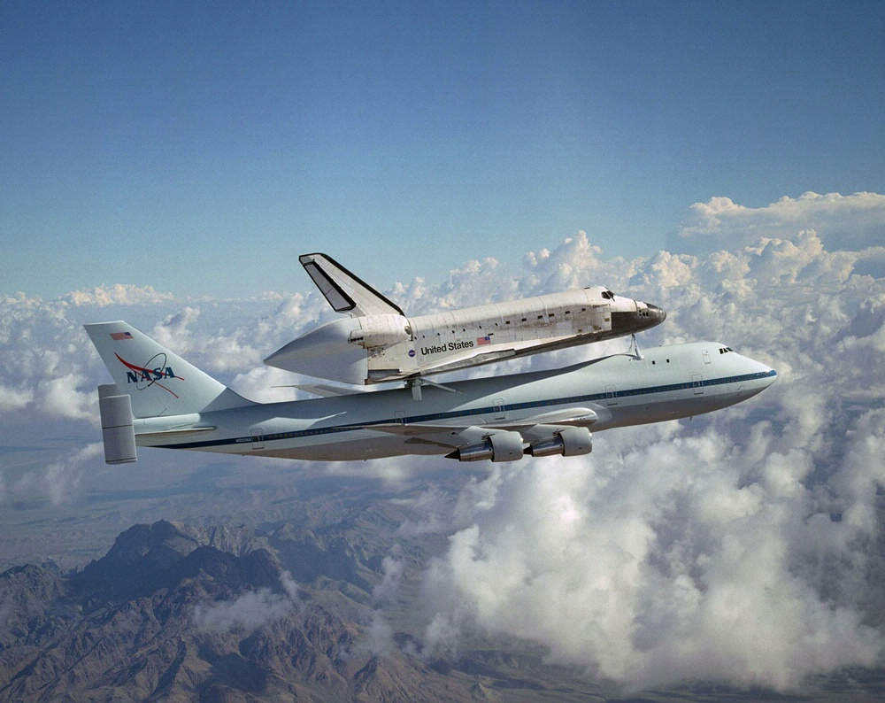 Space Shuttle Discovery Flies Atop 747