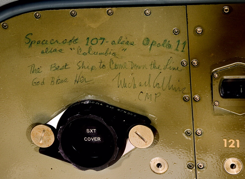 "Michael Collins' Inscription inside Apollo 11 Command Module ""Columbia"""