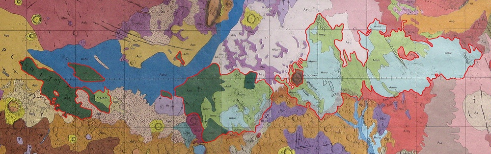 Portions of published global geologic maps of Mars