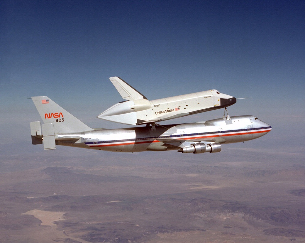 Space Shuttle Enterprise First Captive Flight atop NASA SCA