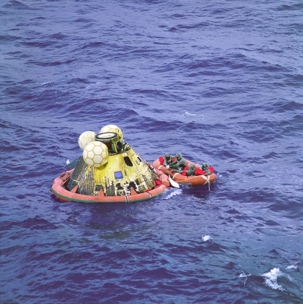 Apollo 11 Crew in Raft before Recovery