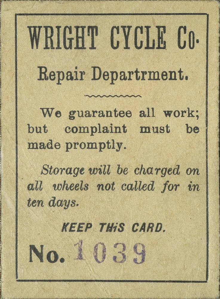 Wright Cycle Co. Repair Claim Check