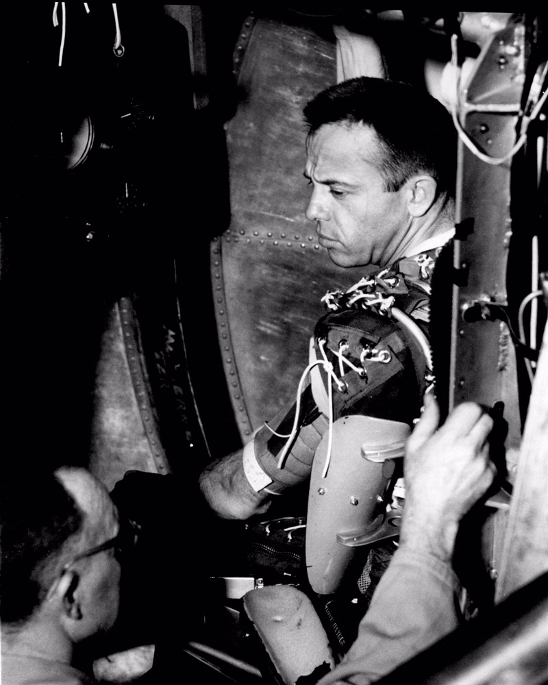 Alan Shepard takes a spin in the centrifuge.