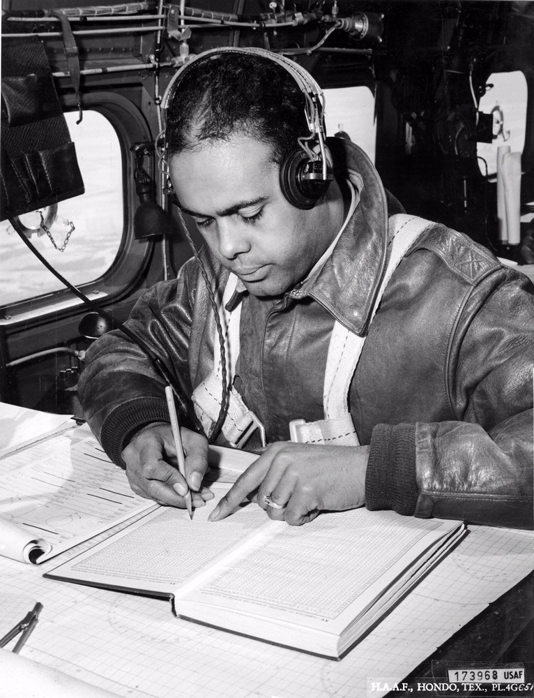 Tuskegee Navigation Cadet on Aircraft Trainer